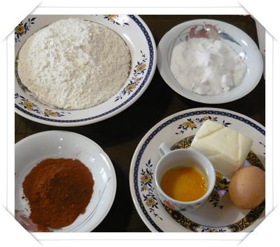 Ingredienti per la pasta frolla al cacao
