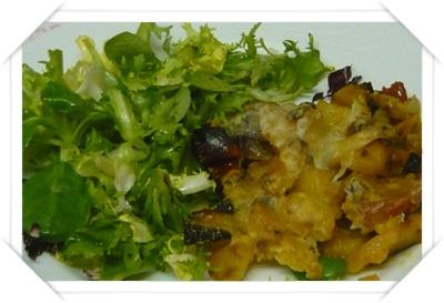 Sformato di patate e insalata