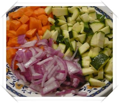 Carota, cipolla e zucchina