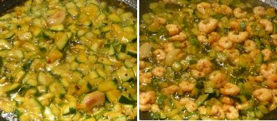 Zucchine e gamberetti cotti